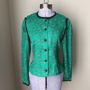 Vtg 80s 90s green blouse size 4P